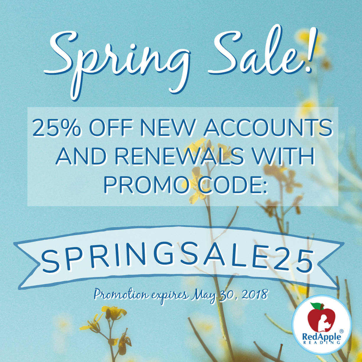 Spring Sale 25% off Red Apple Reading