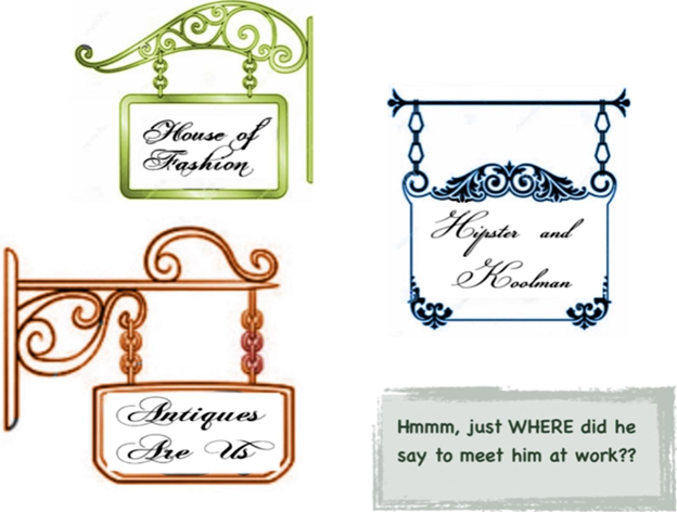 store signs or logos with cursive script